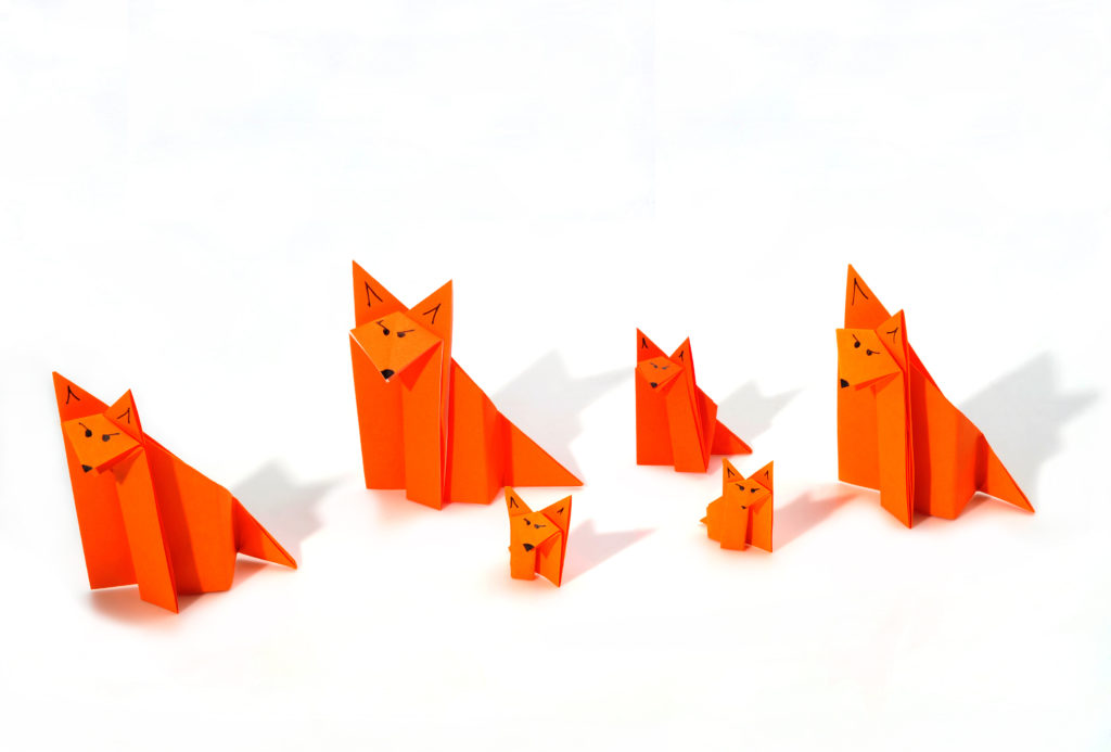 Origami Fox family representing our crafty cubs workshops for kids of all ages.